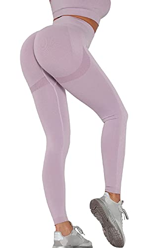 Voqeen Pantalones de Adelgazantes Push Up Mujer Leggins Reductores Adelgazantes Leggings Pantalones de Yoga Anticeluliticos Cintura Alta Mallas Fitness (Morado Claro, S)