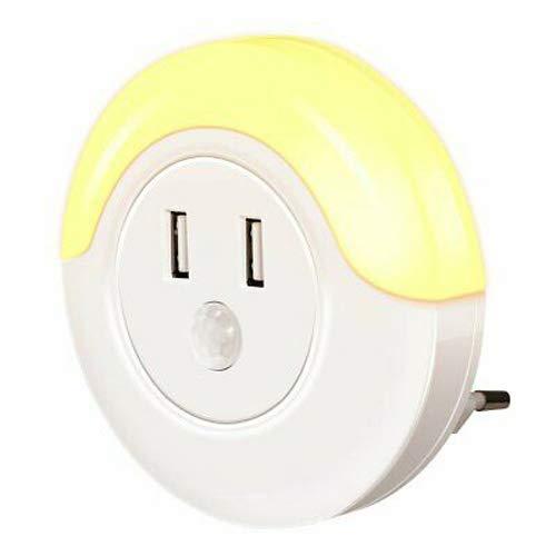 Casalux Sirius Sensor Round LED Steckdosen Nachtlicht 0,6W 28lm Amber extra warm mit 2 x USB-Ladegerät