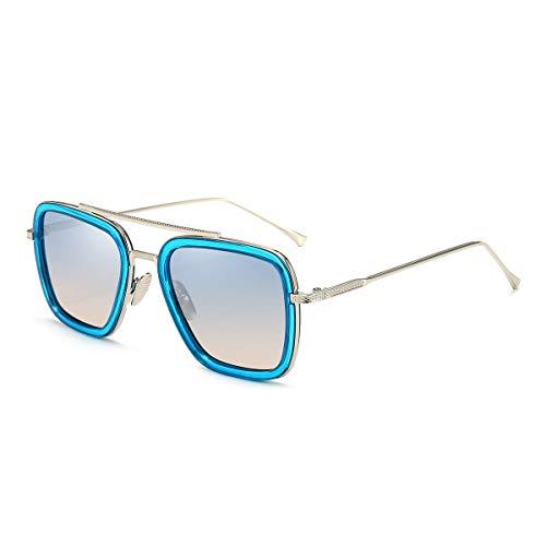 Dollger Gafas de sol cuadradas de aviador vintage para hombres, mujeres, marco dorado, marca retro, gafas de sol clásicas Tony Stark(Marco plateado azul degradado)