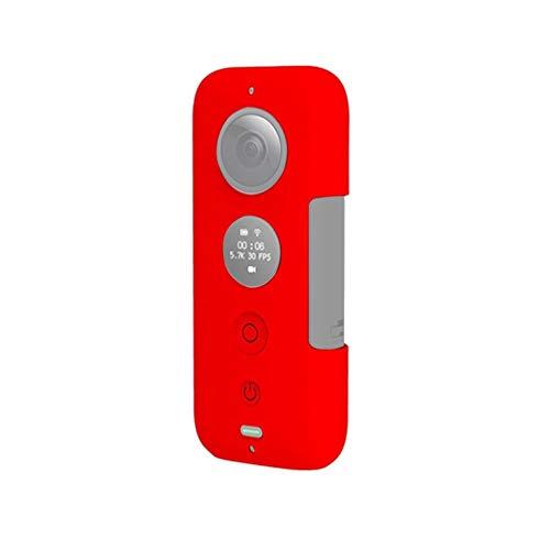 Solustre Silikon-Schutzhülle mit Objektivabdeckung Panorama-Sportkamera-Schutzhülle Kompatibel für Insta360 One X Action Kamera (Rot)