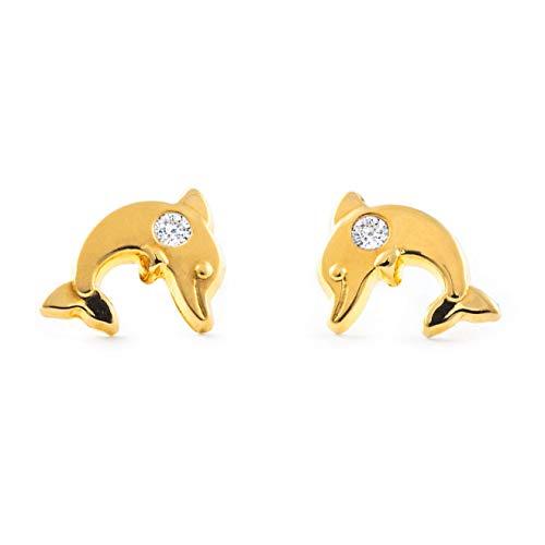 Orecchini per bambini delfino - oro giallo 9K (375)