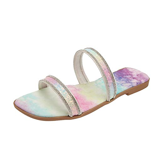 house slippers for women open toe soft bottom non-slip rhinestone sandals wild womens strappy sandals with arch support fire and safety shoes woman's sandals (Pink 8.5)
