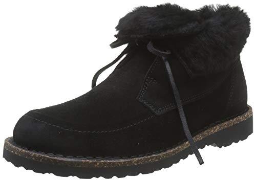 BIRKENSTOCK Damen BAKKI Veloursleder/Fell Chukka Boots, Schwarz (Black Black), 37 EU
