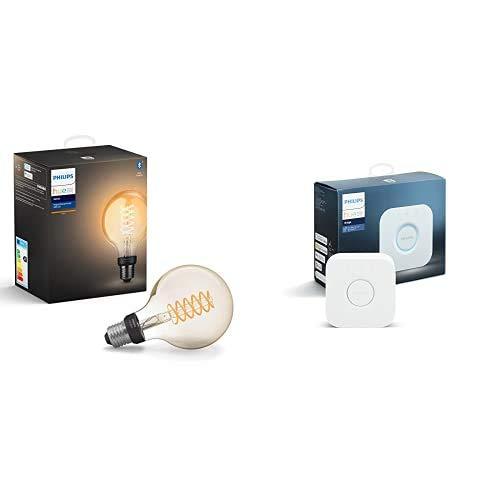 Philips Hue White Filament E27 LED Globe, dimmbar, Vintage Design, warmweißes Licht, steuerbar via App, kompatibel mit Amazon Alexa + Bridge, zentrales, intelligentes Steuerelement des Hue Systems