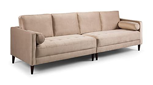 Honeypot - Harper - Sofa - 4 Seater - 3 Seater - 2 Seater - Armchair - Blue - Beige - Plush Grey - Green - Plush Velvet (4 Seater, Beige)