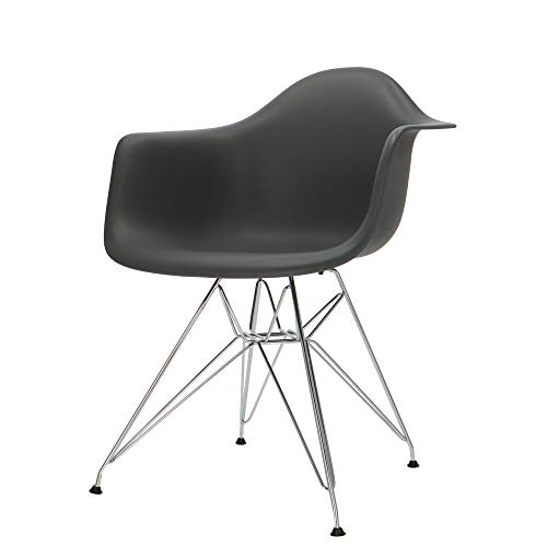 Popfurniture POP Designer stoel DAR met armleuning - eetkamerstoel, woonkamerstoel, bureaustoel, retrostoel van kunststof en roestvrij stalen frame | 63 x 60 x 83 cm