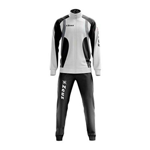 """Zeus - Tuta sportiva unisex """"Medusa"""", bianca nera e grigia, ideale per fare jogging o calcio, con giacca, maglietta, pantaloni, con cinque stelle stampate, Blanc-Bleu-Royal, L"""