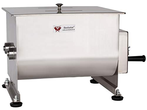 Beeketal 'FMD20' Gastro Marinator Vermenger aus Edelstahl mit ca. 20 Liter Volumen, 2 Butterfly-Mischpaddeln, Sichtschlitz und stabiler Handkurbel für leichtere Handhabung