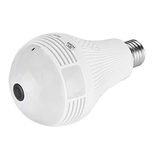 1080P WiFi Bulb Camera Cámara de seguridad interior Gran angular Fisheye HD 360 ° para sistema de seguridad remoto, detección de movimiento y chat dual (1080P)