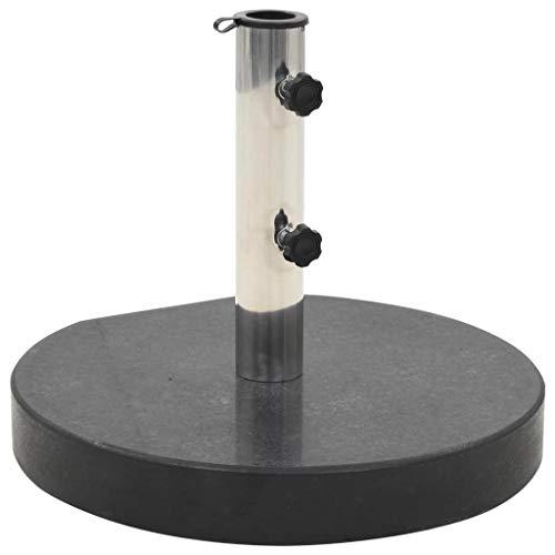 vidaXL Socle de Parasol Granite 30 kg Rond Noir Base Support de Parasol