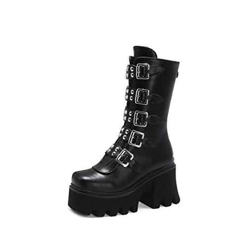 XTR Winter Gothic Punk Damen Plattform Stiefel Schwarz Schnalle Riemen Reißverschluss Creeper Wedges Schuhe Mid Calf Military Combat Stiefel, Schwarz, 7.5