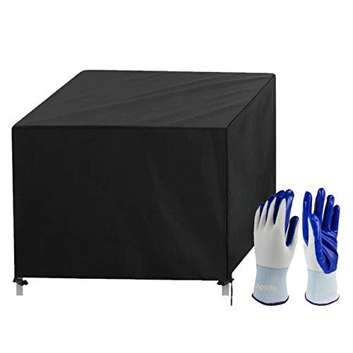 Apodis Cubierta de Muebles de Jardín Rectangular Impermeable Resistencia al Desgarro Resistente al Polvo Anti-UV Protección Funda de Mesa y Silla Exterior, 200×200×80cm Negro