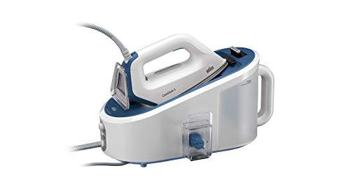 Braun Carestyle 5 IS5145WH Centro de planchado, suela bidireccional eloxal 3D, depósito extraíble 2 L, golpe de vapor 400 gr/min, 2400 W, plástico, blanco y azul