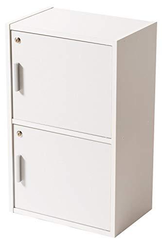 システムK 鍵付き カラーボックス 棚 収納ボックス 訳あり ホワイト 2段