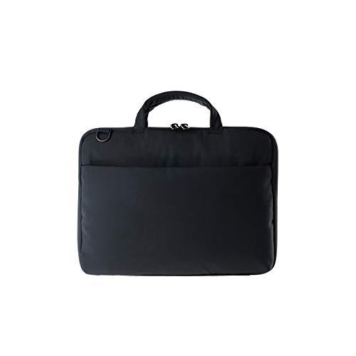 Tucano Darkolor Hartschalentasche für Laptop Notebook bis 14 Zoll, für den mobiler Arbeitsplatz mit praktischer Standfunktion und abnehmbarem Schultergurt - Schwarz