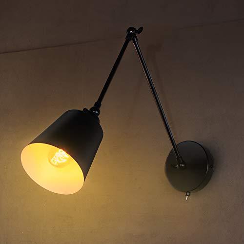 MantoLite Schwenkarm Wandleuchten mit Schalter, Nachttischleuchte mit Kegel Lampenschirm für Hotel Restaurant Nachttisch Leselampe, Wand Scone mit Metall Käfigschirm (inklusive Glühbirne A)