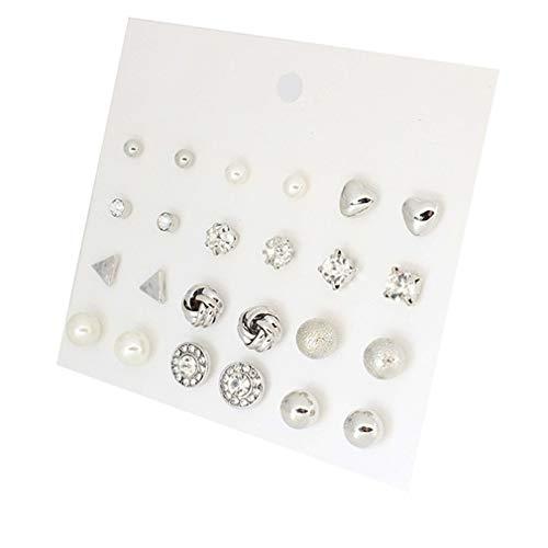#N/A Rlmobes 12 pares de pendientes cuadrados de circonita con forma de corazón y aro redondo para joyería de mujer, plata