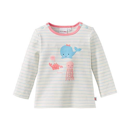 Bornino T-shirt manches longues top bébé vêtements bébé, bleu ciel/écru