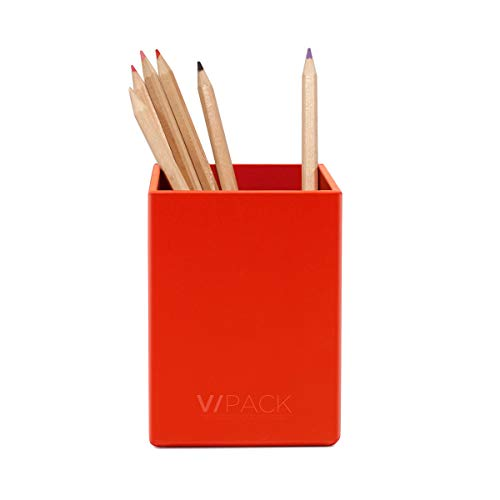 VPACK Square Pen Pencil Cup Holder Stand Desk Office Organizer, Double Art Paper Desktop Supplies Organizer for Home, School, Office(Red)
