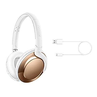 Philips Flite Everlite SHB4805RG Wireless Bluetooth Headphones with Mic, Remote Control, Foldable - Rose Gold from Philips