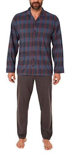 NORMANN-Wäschefabrik Herren Pyjama lang durchgeknöpft in Karo Optik, Single Jersey - auch in Übergrössen 281 101 90 481, Größe2:70, Farbe:grau