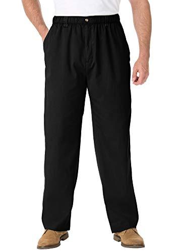 KingSize Men's Big & Tall Knockarounds Full-Elastic Waist Pants in Twill or Denim - Tall - 3XL 40, Black