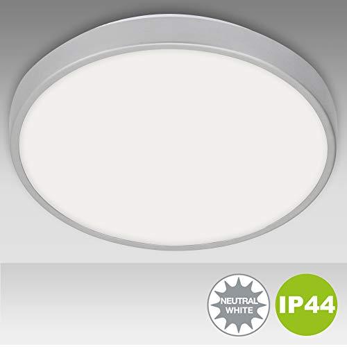 Briloner Leuchten - LED Deckenleuchte, Badlampe, Badleuchte, 15 Watt, 1.500 Lumen, 4.000 Kelvin, Weiß-Chrom, IP44, Ø 29cm