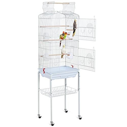 Yaheetech Gabbia Voliera per Uccelli Pappagalli Inseparabili Calopsite Parrochetti in Metallo con Piedistallo Ruote e Tetto Apribile 46 x 35,3 x 150,6 cm Bianca