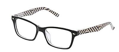 Peepers by PeeperSpecs Women's Zuma Rectangular Reading Glasses, Black/Stripe - Focus Blue Light Filtering Lenses, 50 mm + 0