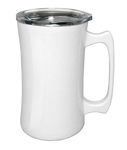 True North Stainless Steel Insulated Beer Mug Tumbler + Tankard with No-Spill BPA Free Triton Lid, Keeps Drinks Warm or Cold for 24 Hours, Perfect for IPA, Coffee, Tea or Wine, 20 oz, Beach White