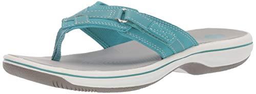 Clarks Women's Breeze Sea Flip-Flop, aqua synthetic, 6 M US