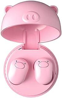 OUYAWEI Lovely Pig TWS V5.0 audífonos inalámbricos Bluetooth Mini audífonos Rosa