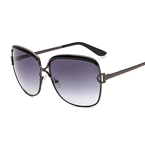 IRCATH Gafas de Sol Negras de Gran tamaño a la Moda para Mujer, Gafas de Sol para Mujer, gradiente de Marco Grande de Metal Vintage, Adecuado para Conducir en la Playa, Fiesta de Trekking-C1
