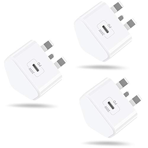 AXIULOO 3-Pack 20W USB C Fast Charger for iPhone 12/12 Mini/12 Pro/12 Pro Max, PD 3.0 Mains Wall Charging UK Plug Power Delivery Adapter for Phone 11 Pro Max SE 2020, iPad Pro, AirPods Pro