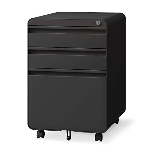 3-Drawer File Cabinet, Metal Filing Cabinet with Lock & Hanging File Frame for Legal & Letter File, Anti-tilt Design and Lockable Rolling File Cabinet for Home Office, Black