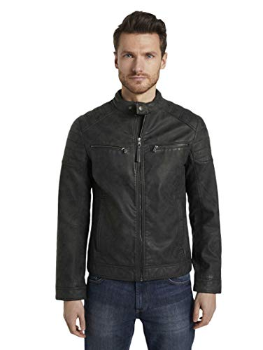 TOM TAILOR Herren Jacken & Jackets Bikerjacke aus Lederimitat Black,M