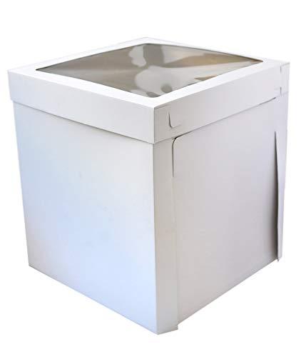 Sugar and Cakes Tortenbox Tortenkarton extra Hoch 40,5 x 40,5 x 50,8 cm XL Feste stabile Aufbewahrungsbox Geschenkbox Karton Verpackung