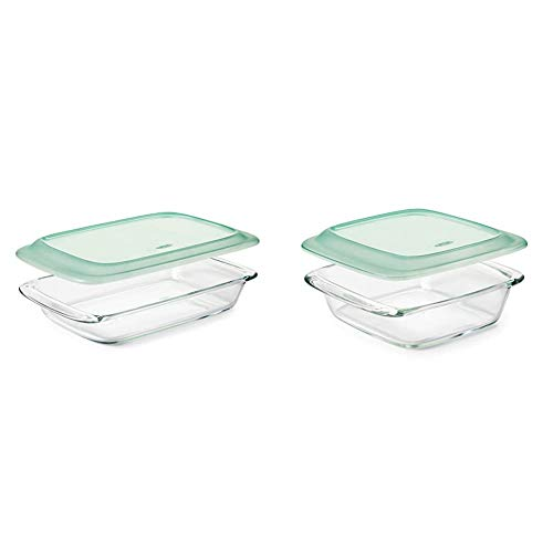OXO Good Grips Freezer-to-Oven Safe 3 Qt Glass Baking Dish with Lid, 9 x 13,Clear,9 x 13' & Good Grips Freezer-to-Oven Safe 2 Qt Glass Baking Dish with Lid,Clear,8 x 8'