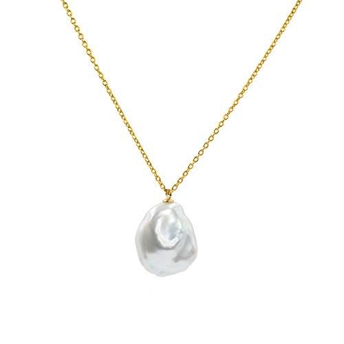 Secret & You Collar de Mujer Perlas Cultivadas Keshi Muy Grande de 14-16 mm de Agua Dulce - Cadena y Colgante de Plata de Ley de 925 Bañada en Oro de 18k 38 a 45 cm de Largo.