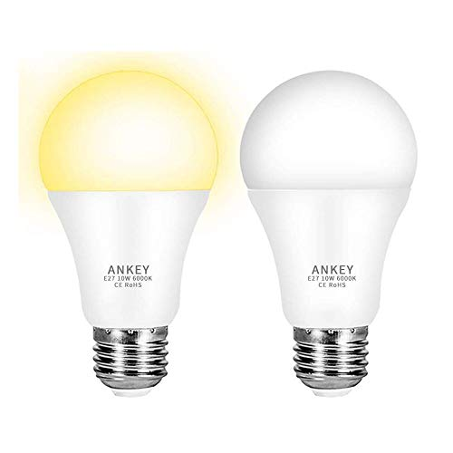 Lampadina LED Sensore 10W E27 Lampadine con Sensore Crepuscolare di Luce Bianco Caldo 3000K Auto On/Off per Portico Corridoio Garage-2 Pezzis
