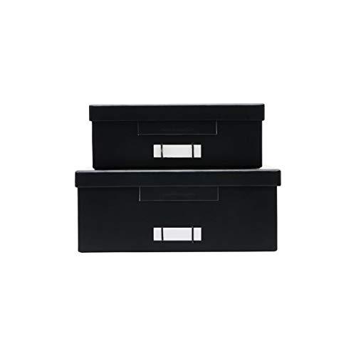 Cajas, cartón, Color Negro, S: 28 cm, Ancho: 22 cm, Alto: 8 cm, Largo: 32 cm, Ancho: 26 cm, Alto: 10 cm