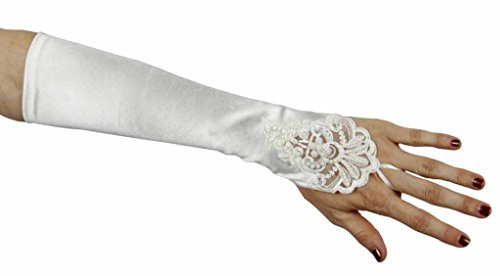Sweet Serendipity Satin Fingerless Elbow Gloves with Beads, White
