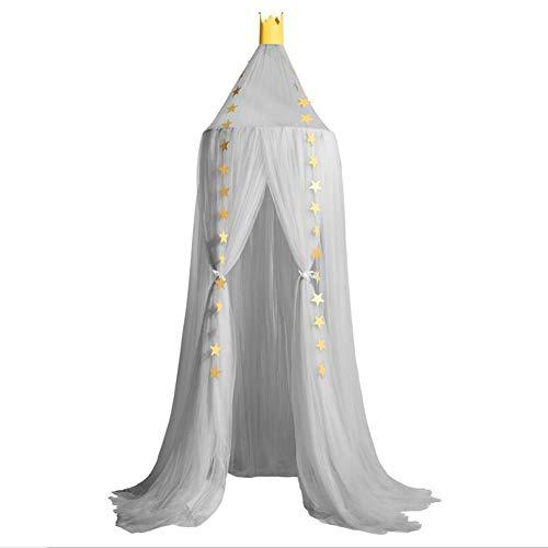 YLEI Moskitonetz Bett, Vier Eckpost Bett Baldachin Vorhang mit DIY leuchtenden Sternen, Insektennetz Betthimmel für Kinder, Jungen, Mädchen, Kinderbett, Höhe 240 cm,Grau