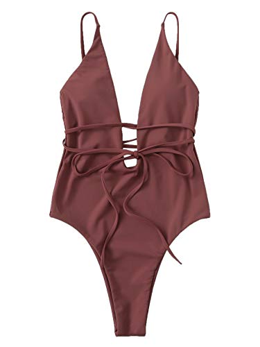 SOLY HUX Women Sexy One Piece Swimsuit Deep Plunge Belted Low Back Padded Swimwear Brown Medium