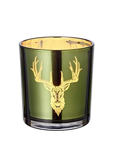 EDZARD Windlicht Teelichtglas Kerzenglas Alex, grün, Hirsch, Höhe 8 cm