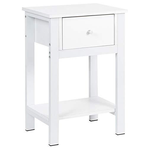 AYNEFY Nachttisch aus Holz, weiß, Nachttisch mit Schublade/Ablage, Nachttisch, Schlafzimmer-Aufbewahrungseinheit mit 1 Schublade, 40,2 x 30,2 x 60,5 cm