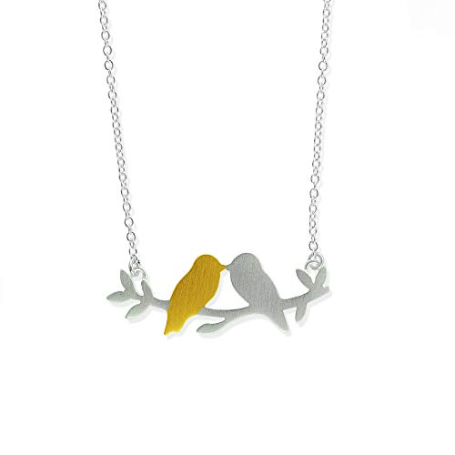 Boma Jewelry Sterling Silver 18kt. Gold Washed Sterling Silver Love Birds Branch Necklace, 16 inches