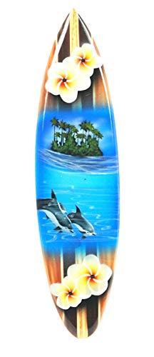 Asia Design Miniatur Surfboard Dekosurfboard Surfbrett Holz Wellenreiten Höhe 30 cm inkl. Holzständer Dekoration Nr 8