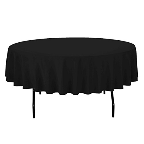 "Royal Decor Supply 1 Pack 24"" Black Round Polyester Tablecloth for Wedding Party & Venue Decoration"