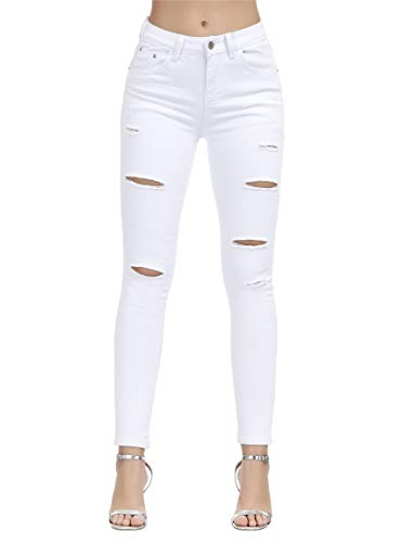 BISUAL Women's Juniors Skinny Jeans Mid-Rise Distressed Slim Fit Stretchy Jegging Denim Pants